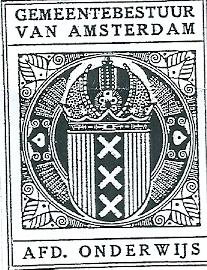 Exlibris Gemeentebestuur van Amsterdam, afd. Onderwijs. Ontwerp van K.P.C.de Bazel