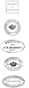 Bibliotheek Koninklijk Huis; exlibrisstempels gebruikt door koningin Wilhelmina, prins Hendrik en koningin Juliana [Exlibriswereld, nr. 1, voorjaar 2002]