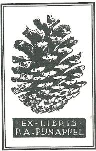 Ex libris P.A.Pijnappel, in 1936 aan de UB Amsterdam ten geschenke gegeven door de zuster van P.A.Pijnappel (1875-1935), die een voorman van de S.D.A.P. is geweest