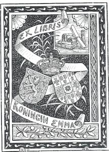 Exlibris koningin Emma, vervaardigd door De Ranitz (1900)