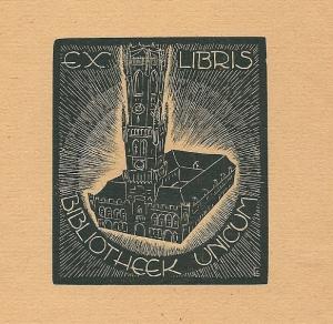 Exlibris Bibliotheek Unicum Brugge, (G.Schelpe, 1945)