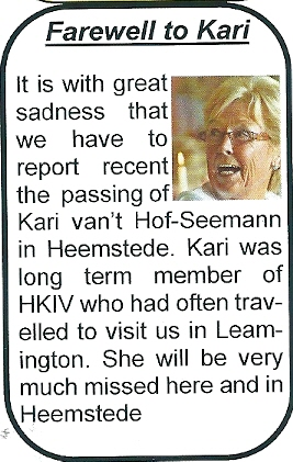 In 'Gemini', Leamington International Twinning Society Magazine (Winter 2012/2013) is aandacht besteed aan het overlijden van Kari van 't Hof-Seemann