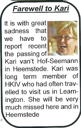 In 'Gemini', Leamington International Twinning Society Magazine (Winter 2012/2013) is aandacht besteed aan het overlijden van Kari van 't Hof-Seemann