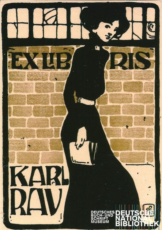 Ansichtkarte mit Abbildung von Ludwig Hohlwein für Karl Rau. Lithografie um 1910. In: Deutsche Bibliothek (Leipzig, Frankfurt am main. Berlin)