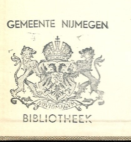 Stempel exlibris bibliotheek gemeentewapen met stadswapen