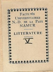 Universitaire Faculteit Notre Dame de la Paix, Namen, afd. Literatuur