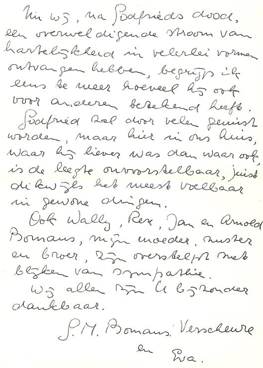 Het verlies van Godfried Bomans zoals uitgedrukt door zijn meest naasten.