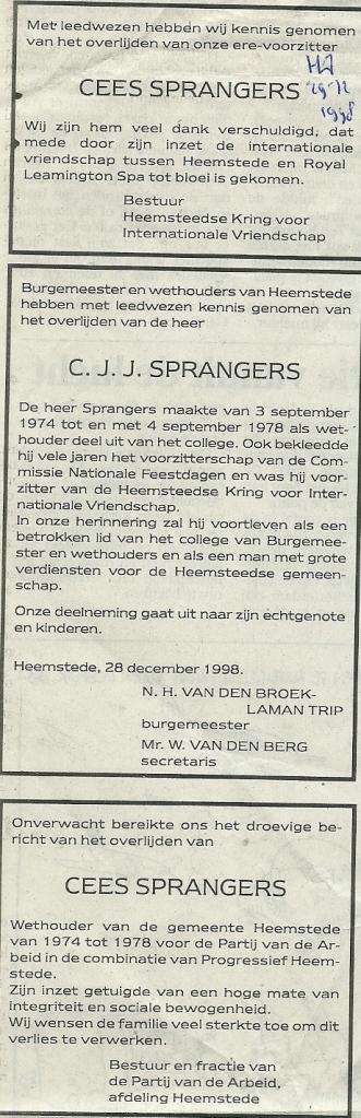 Overlijdensberichten C.Sprangers uit het Haarlems Dagblad