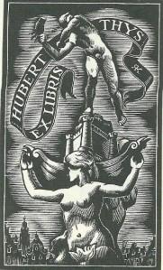Exlibris van antiquariaat Hubert Thijs (1900-1976); door Rik Keuterinks, 1940 [P.J.Buijnsters: geschiedenis van antiquariaat en bibliofilie in België]