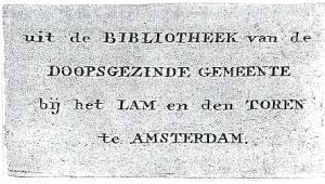 exlibris bibliotheek Doopsgezinde Gemeente bij het Lam en den Toren, Amsterdam
