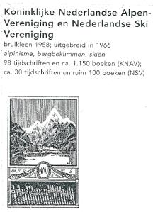Exlibris Kon. Ned. Alpen-Vereniging en Ned. Ski Vereniging