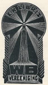 Ex libris uitg. Wereldbibliottheek Vereeniging. Houtgravure Nico Bulder