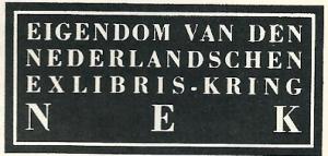 Nederlandsche Exlibris Kring; ontworpen door W.J.Rozendaal 1936