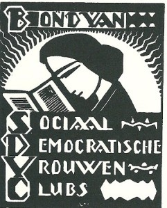 Ex libris Bond van Sociaal Deocratische Vrouwen Clubs. Omstreeks 1925 ontworpen door j.van Hell