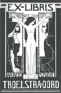 Ex libris Troelstra-oord, Beekbergen. Circa 1930 ontworpen door A.A.v.d.Walle
