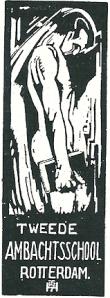 Exlibris Tweede Ambachtsschool Rotterdam nar een ontwerp van Th.P.Haanebrink