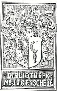Ex libris gemaakt in opdracht van de toenmalige bibliothecaris der Rijksuniversiteit te Groningen ter gelegenheid van het in ontvangst nemen van de boekerij van mr.J.J.C.Enschedé