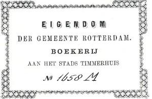 Oid ex libris van boekerij van de gemeente Rotterdam
