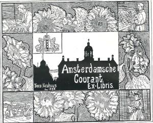 Exlibris Amsterdamsche Courant, ontworpen door Theo Neuhuys