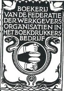 Ex libris van de boekerij van Federatie der Werkgeversorganisatiein in het boekdrukkersbedrijf