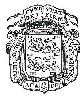 Bibliotheekeigendomstempel, gebruikt op boeken van de Academiebibliotheek Franeker vanaf 1648