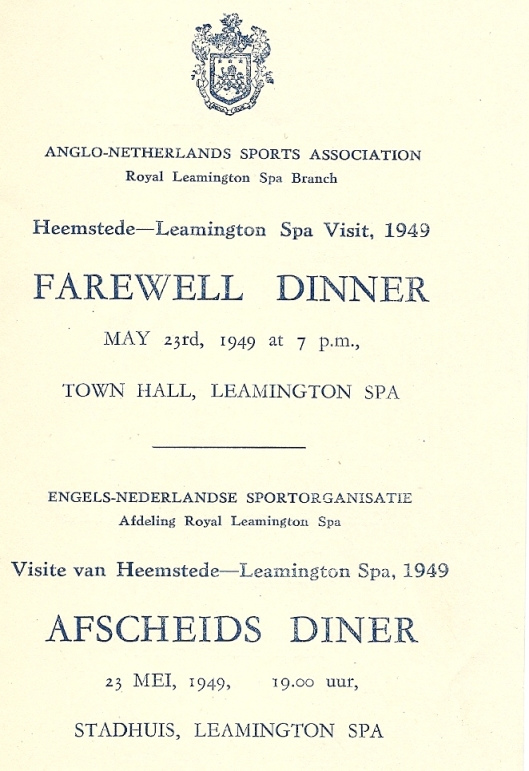 Voorzijde van menukaart afscheidsdiner