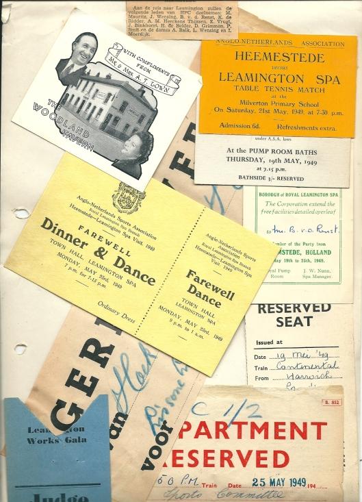 Uit een foto-scrapbook met papieren memorabilia van bezoek aan Royal Leamington Spa in 1949