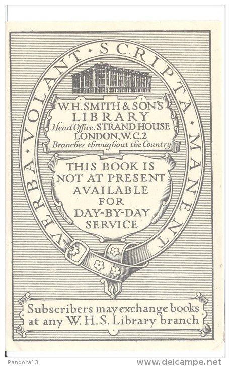 Ex libris van W.H.Smith's & Sons Lending Library London