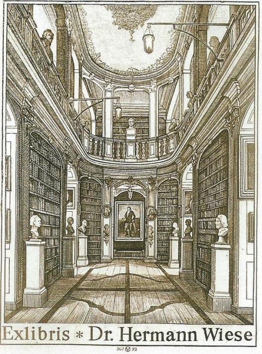 Exlibris van Oswin Volkomer voor Hermann Wiese; afbeelding van interieur Anna Amalia Bibliotheek in Weimar.