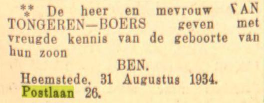 Kennisgeving van geboorte Ben van Tongeren in Heemstede. Uit: Leeuwarder Courant van 1-9-1934