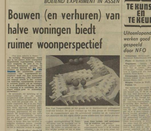 Project Baggelhuizen, Assen (architect Ben van Tongeren). Uit: Nieuwsblad van het Noorden, 15-10-1970