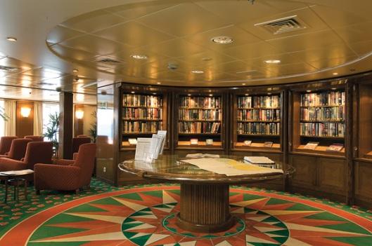 Bibliotheek op cruiseschip 'Boudica' (Fred Olsen Cruises)