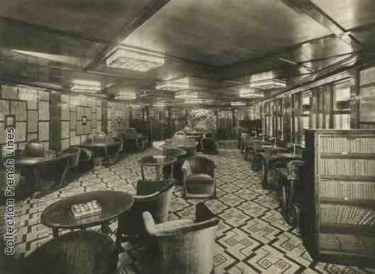 Bibliotheek aan boord van stoomboot Ile de France, Compagnie Générale Transatlantique, 1930