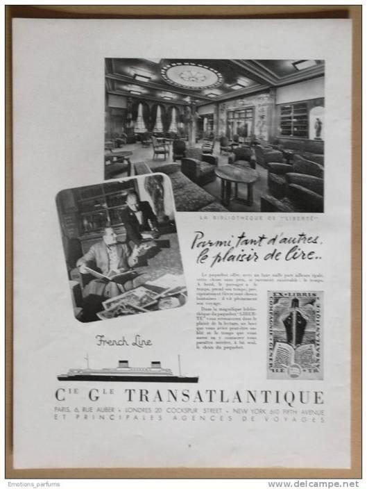 Reclameplaat van 'Liberté', Compagnie Générale Transatlantique uit 1953