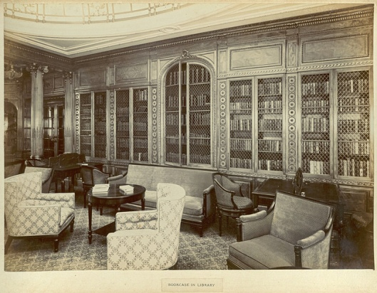 Bibliotheek op r.m.s. 'Mauretania', 1906, Cunard Line