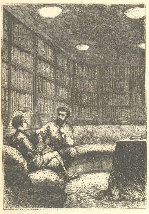 Fantasietekening van kapitein Nemo in de bibliotheek van de Nautilus