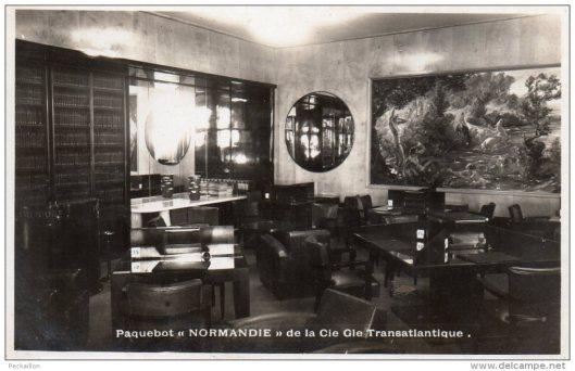Paquebot Normandie; la bibliothèque