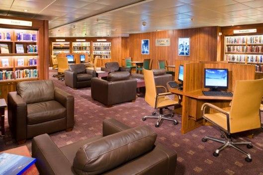 Bibliotheek op de Prinsendam van de Holland America Line