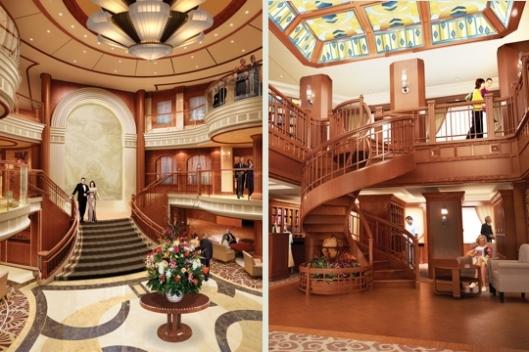 Hal (links) en bibliotheek (rechts) van de 'Queen Elizabeth II' (Cunard Lijn)