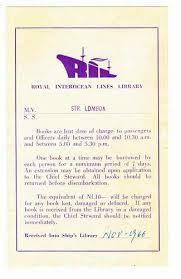 Reglement van Royal Interoceans Lines Library, ss. Lombok. Hong Kong, voorheen Nederlandse passagiers- en pakketfirma op China en Indonesië
