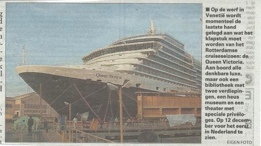 Bericht over nieuw cruiseschip Queen Victoria (De Telegraaf, 17-11-2007)