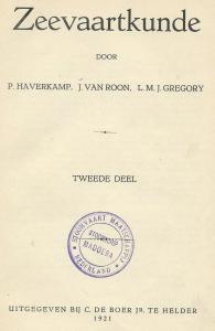 Titelblad 'Zeevaartkunde' uit bibliotheek van stoomschip Madoera (2), 1922-1956, van de Stoomvaart Maatschappij Nederland