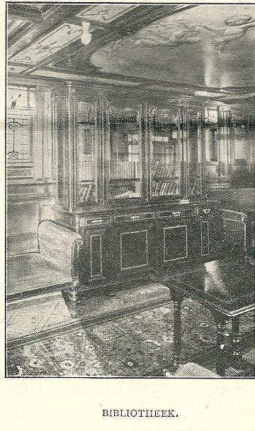 Interieur bibliotheek van de 'Rotterdam', uit de Katholieke Illustratie, nummer 48, 1897/98.