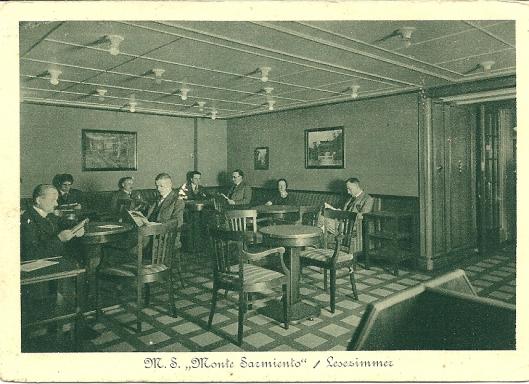Lesezimmer der M.S. 'Monte Sarmiento' (Hamburg-Südamerikanische Dampfschiffahrts-Gesellschaft)