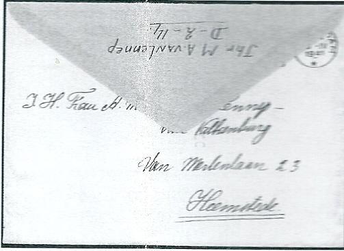 11 juni 2004 zijn bij 'Go Centrum' 2 enveloppen uit 1941 geveild afkomstig van jhr.M.A.van van Lennep als gevangene van de Duitse bezetters in het Huis van Bewaring Amsterdam, aan nw. Van Lemnnep-van Valkenburg, Van Merlenlaan 23 Heemstede