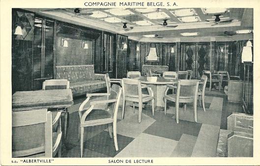 Stoomschip 'Albertville',(Compagnie Maritime Belge S.A.), salon de lecture