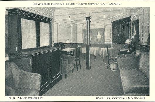 S.s. 'Anversville', Compagnie Maritime Belge 'Lloyd Royal', salon de lecture 1re classe