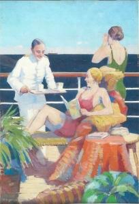 'Serveren van thee op sportdek'. Olieverfschilderij door Evert Jan Ligtelijn, circa 1939 (Het Scheepvaartmuseum, Rotterdam)