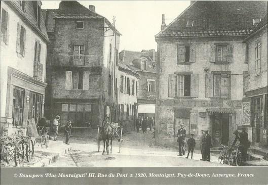 Kaart van Ben van Tongeren's Bouwpers met een oude afbeelding van Montaigut in Frankrijk