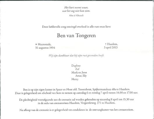 Rouwkaart Ben van Tongeren